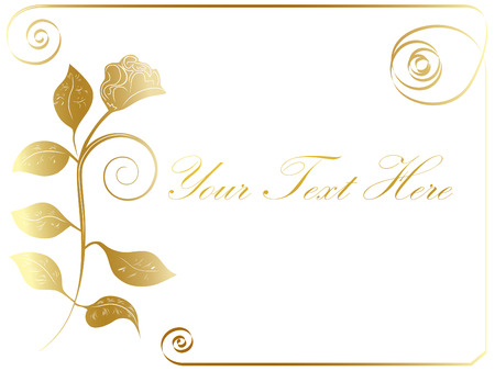 vector golden rose frame at white background Vector