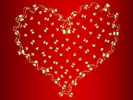 vector golden heart at red background Vector