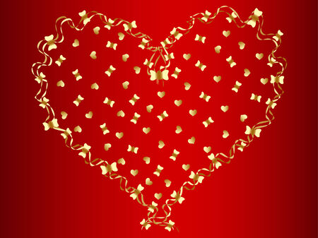 adorn: vector golden heart at red background Illustration