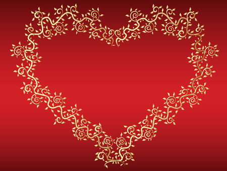 adorn: vector de coraz�n de oro en fondo rojo