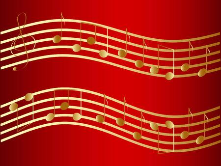 viertelnote: Vector winkte goldenen Musik stellt fest, auf dem roten Hintergrund Illustration
