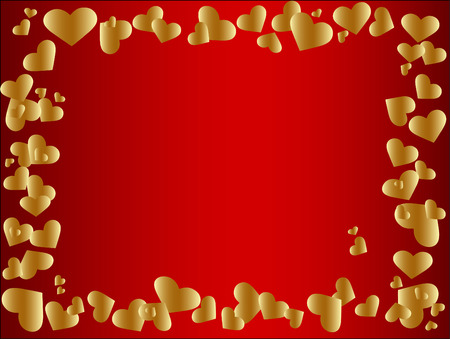 vector golden heart frame at the red background Vector