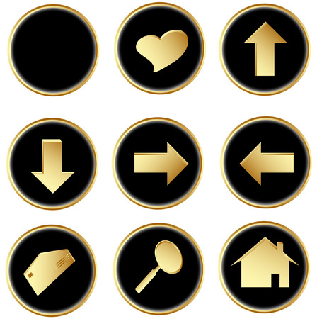 Illustration of the black round web buttons Vector
