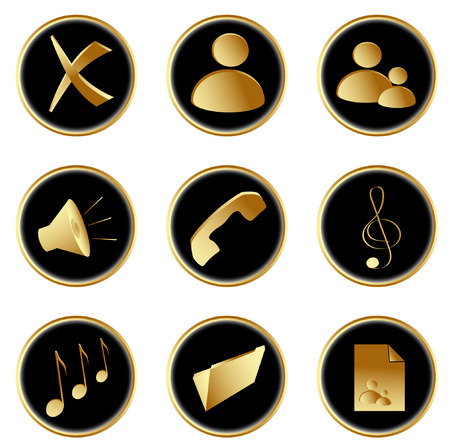 Vector Illustration of the golden black round web buttons set 1 Vector