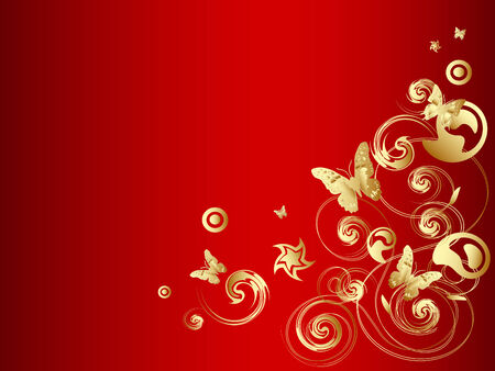 Gold vector butterfly with ornate over red background Vector