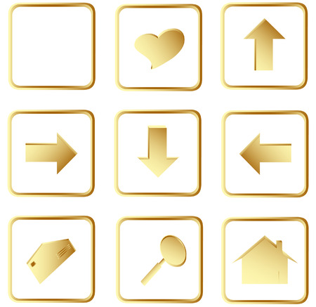 Illustration of the gold square web buttons Vector