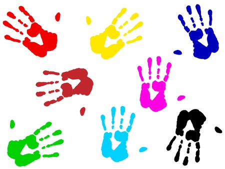 illustration of multicolored hand print over white Vector