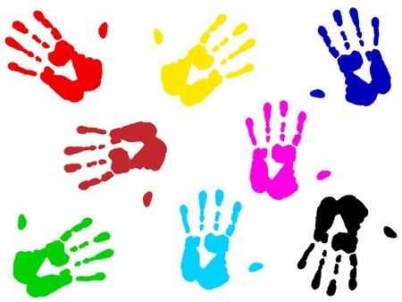 illustration of multicolored hand print over white Stock Vector - 4501300