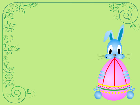 Easter card with funny rabbit holding coloring egg Vector