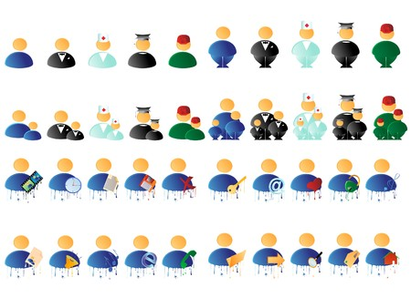 Set of differend multicolored people icons photo
