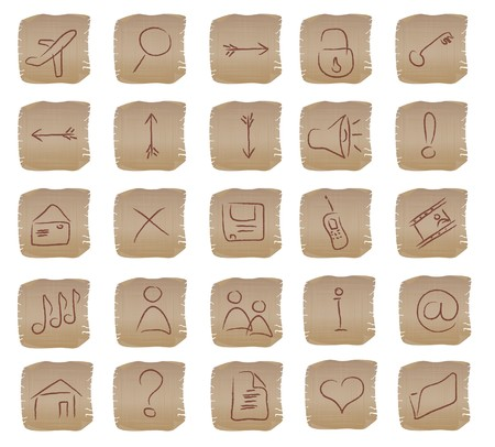 illustration of the beige square web buttons set Stock Illustration - 4563446