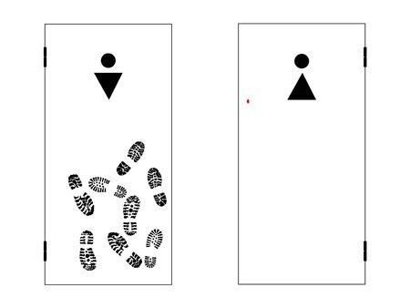 illustration of the two toilet doors for men and women illustration
