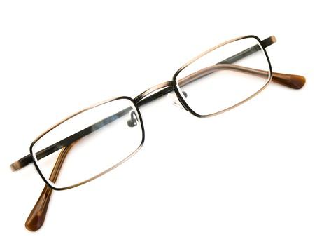 diopter: modernas gafas de marco met�lico en el fondo blanco