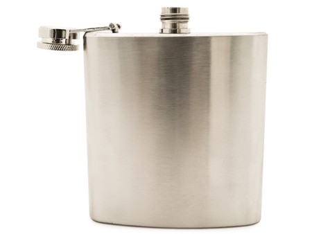 Photo of the metal flask against the white background photo