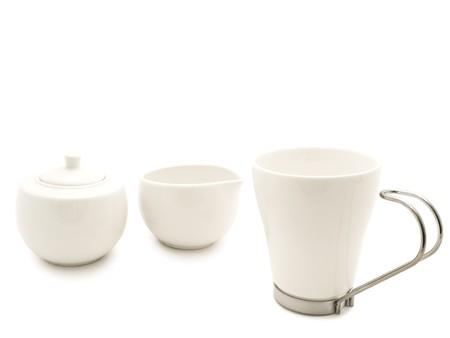 white modern tea-set over the white background Stock Photo