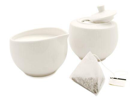 teaset: white modern tea-set over the white background Stock Photo