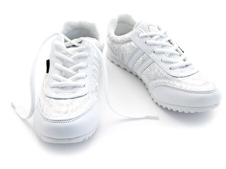 pair of running shoes over the white background Stock Photo - 4633559