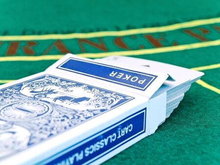 card deck on the playing table in the casino Stock Photo - 4633602