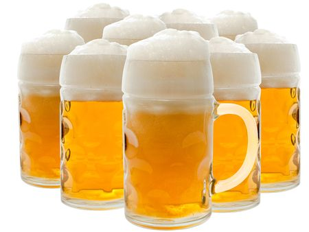 mug of ale: Lots of beer glasses with foamy beer