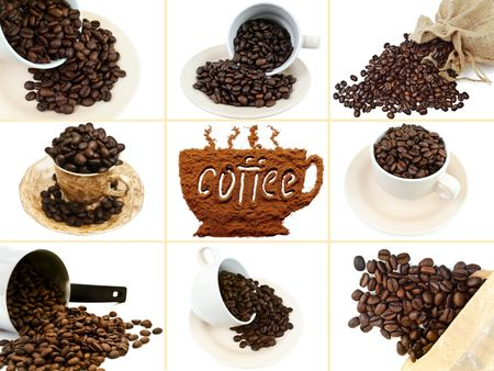 percolator: photo of the coffee set with roasted grain coffee beans, cups and turkish percolator Stock Photo