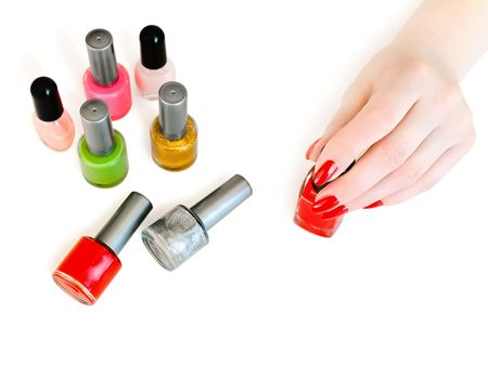 vials of nail varnish on the table in a beauty salon Stock Photo - 4682393