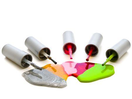 photo of the multicolored liquid lacquer over white background Stock Photo - 4796057