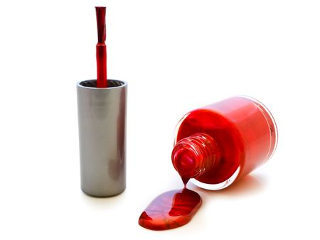 photo of the red liquid lacquer over white background Stock Photo - 4796043