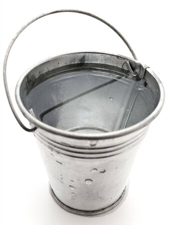 metal bucket with water against the white background Stock Photo - 4796037
