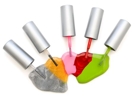 photo of the multicolored liquid lacquer over white background Stock Photo - 4796054