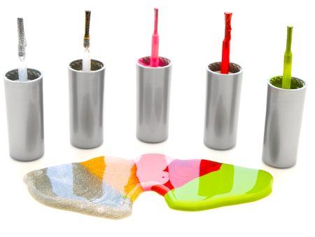 photo of the multicolored liquid lacquer over white background Stock Photo - 4796041