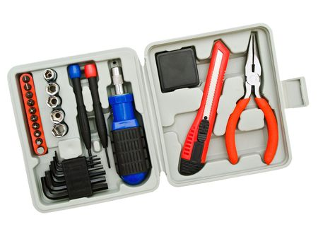 Toolkit of various  tools in the grey box Stock Photo - 4877670