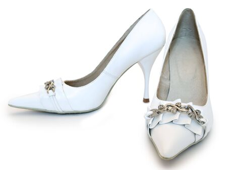 photo of the white women shoes with high heel photo