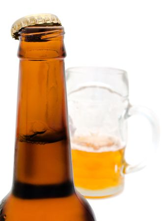 bottleneck of fresh beer bottle with open cork  Stock Photo - 5040173
