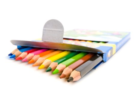 row of coloured pencils over the white background Stock Photo - 5040190