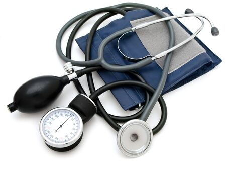 Photo of the  sphygmomanometer with stethoscope against the white background Stock Photo - 5160127