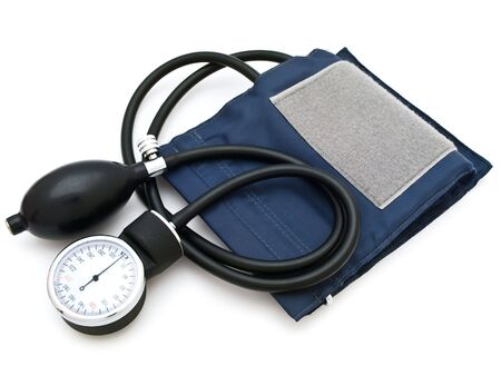 blood pressure bulb: Photo of the  sphygmomanometer against the white background Stock Photo