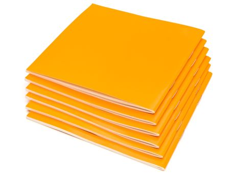 instruction sheet: photo of the some orange booklets against the white background