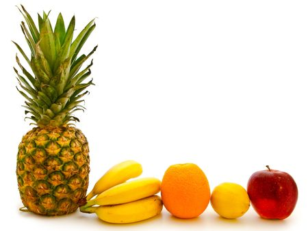 different fruits over the white background photo