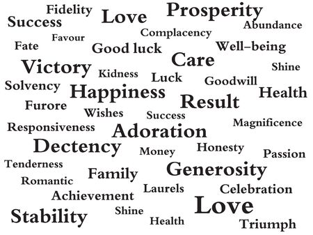 good wishes: Many tags with good wishes on white