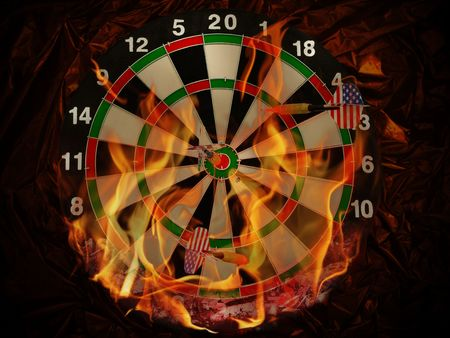 dart concept: dart with arrows in flame at crumpled dark gold material  Stock Photo
