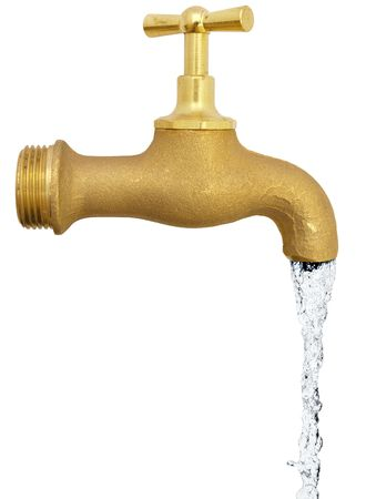 natural cock: copper water tap over the white background