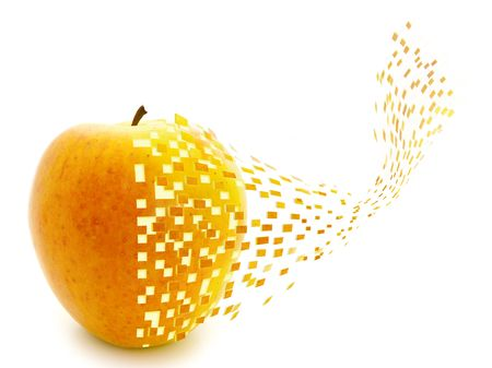 disintegrate:  apple go to little pieces against the white background