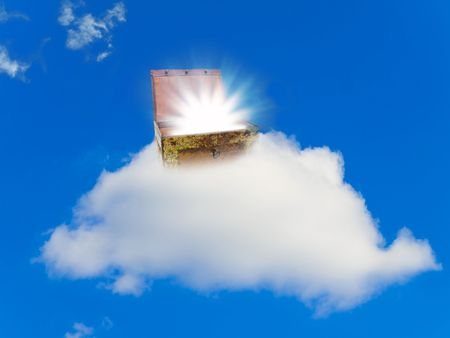 chest with treasure at cloud against the blue sky