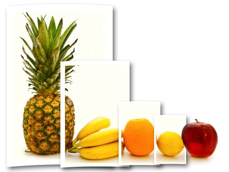 different fruits collage over the white background wiyh copy-space photo