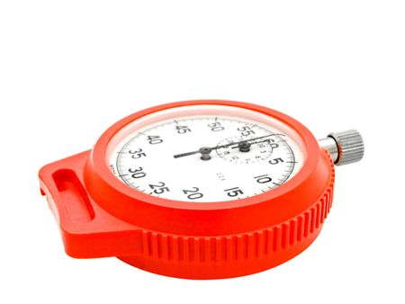 Single red stopwatch against the white background Stock Photo - 5569788