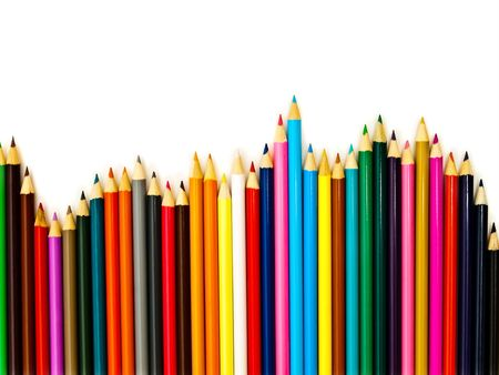 coloured pencil: Wave row of the multicolored pencils against the white background