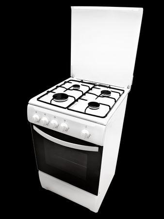 gas cooker: cocina de gas blanco sobre el fondo negro