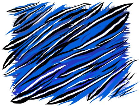 untidy: abstract painted picture in blue colours and stripped with black and white