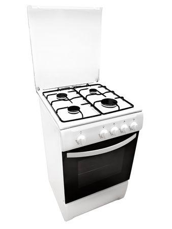 gas cooker: cocina de gas blanco sobre el fondo blanco