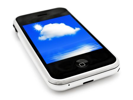 gprs: mobile phone with sky wallpapers over white Stock Photo